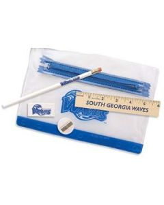 "Clear Translucent Pouch School Kit w/ Pencil, 6"" Ruler, Eraser & Sharpener"