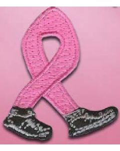 "Embroidered Peel & Stick Pink Ribbon Appliques (1 1/2""x1 3/8"")"