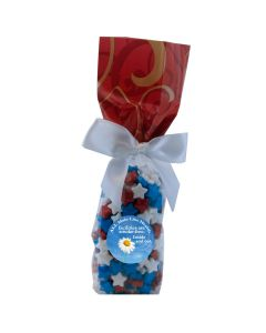 Red Swirl Mug Stuffer Gift Bag with Candy Stars