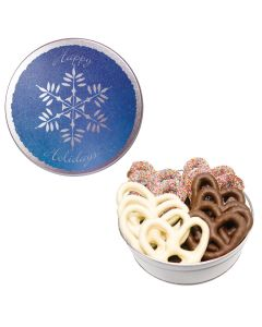 The Royal Green Pretzel Tin - Snowflake Design