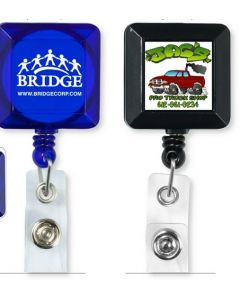 "30"" Cord Square Retractable Badge Reel with Metal Clip (Overseas)"