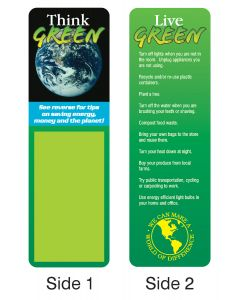 Think Green Stock Full Color Digital Printed Bookmark