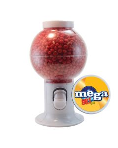 White Gumball Machine Filled with Cinnamon Red Hots