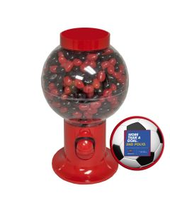 Red Gumball Machine Filled with Corporate Color Jelly Beans