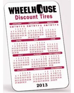"White Vinyl Plastic Vertical Calendar Card w/ Open Blocks (0.01"" Thick)"