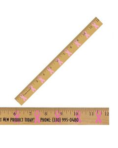 "12"" Clear Lacquer Wood Ruler w/ Ribbon Background"