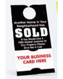 "Door Hanger w/ Business Card (3 1/2""x6 3/4"") White 10 Point Card Stock"