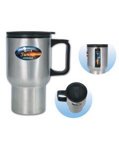 Brand Gear 12 Oz. Stainless Steel Travel Mug w/ Black Trim