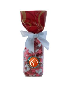 Red Swirl Mug Stuffer Gift Bag with Candy Hearts