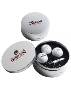 Titleist Pro V1 Tin with Balls & Ball Marker