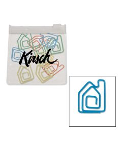 House Paper Clips in Clear Pouch w/ Color Trim