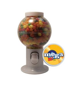 White Gumball Machine Filled with Jelly Beans