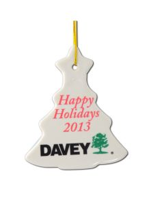 Tree shape ceramic ornament with full color imprint - ships in 3 days