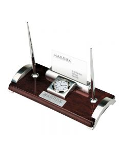 Wood & Aluminum Card/Pen Stand w/ Clock
