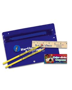 "Premium Translucent School Kit w/ 2 Pencils, 6"" Ruler, Crayon & Sharpener"