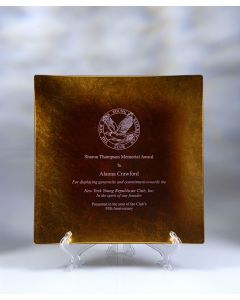 "Eastlake Jade Glass Leaf Square Plate Award (10"")"
