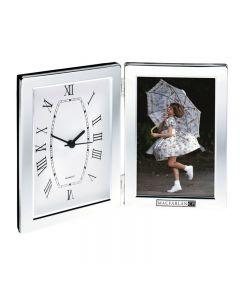 "Hinged Photo Frame & Clock (Holds 4""x6"" Photo)"