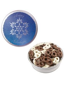 The Royal Tin with Chocolate Covered Pretzels - Snowflake Design