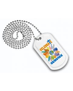 "Plastic Dog Tag w/ 23 1/2"" Chain (Full Color Digital)"