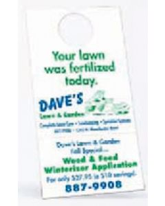 "Door Hanger w/ Detachable Business Card (3 1/2""x6 3/4"") 10 Point Card Stock"