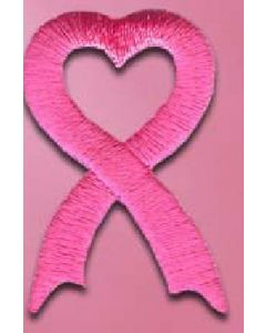 "Embroidered Peel & Stick Pink Heart Shape Ribbon Appliques (1 3/8""x7/8"")"