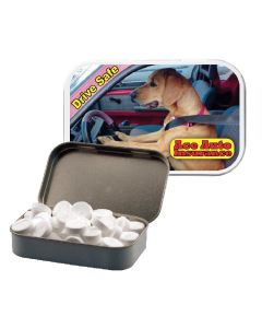 White Large Tin with Dog Mints