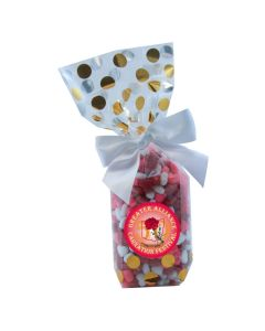 Gold Dots Mug Stuffer Gift Bag with Candy Hearts