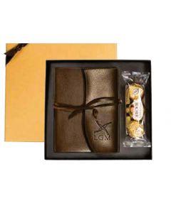 Leeman Ferrero Rocher Chocolates & Leather Wrapped Journal Gift Set