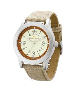 Watch Creations Unisex Watch w/ Beige Canvas Straps & Date Display