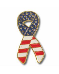 Stars and Striped Ribbon Flag Lapel Pin