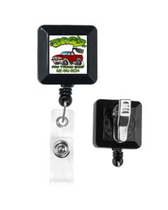 "30"" Cord Square Retractable Badge Reel with Metal Clip (Multicolor)"