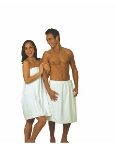 "Men's Terry Velour Bath Wrap - Embroidered (22"")"