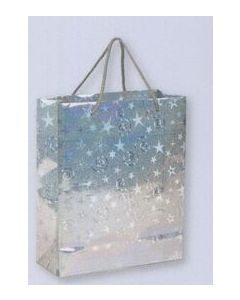 Metallic Silver Sparkle Stars & Swirls Gift Bag/ Product Packaging Option