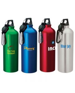 33.8 Oz. Aluminum Sport Flask II Bottle w/ Carabiner Top & Compass