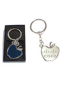Apple shape chrome metal split ring key holder with gift case