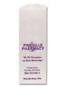 "Paper Pharmacy Bags (3 1/2""x2""x10 1/4"") White"