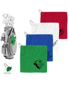 300 GSM Microfiber Golf Towel with Metal Grommet and Clip (Overseas)