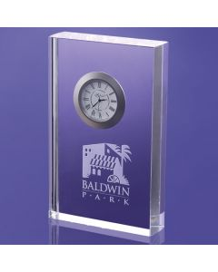 "Oregon Rectangular Award with Imbedded Clock (6"")"