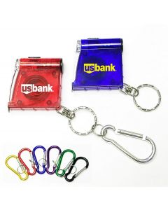 Tape Measure with LED Flashlight and Split Key Ring and Carabiner