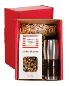 Gourmet Popcorn & Leather Wrapped Tumbler Gift Set