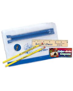 "Clear Translucent Pouch School Kit (2 Pencils, 6"" Ruler, Crayon, Sharpener)"