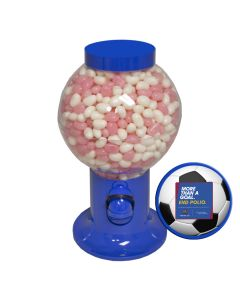 Blue Gumball Machine Filled with Corporate Color Jelly Beans