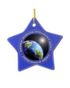 Star shape ceramic ornament with full color imprint - ships in 3 days