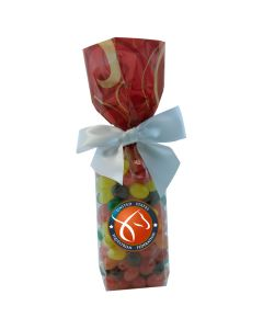 Red Swirl Mug Stuffer Gift Bag with Jelly Beans