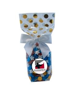 Gold Dots Mug Stuffer Gift Bag with Candy Stars
