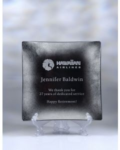 "Eaton Jade Glass Leaf Square Plate Award (10"")"