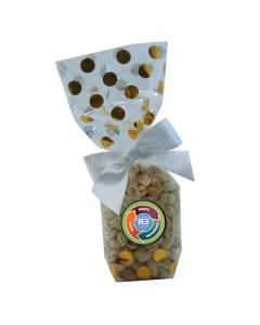Gold Dots Mug Stuffer Gift Bag with Peanuts