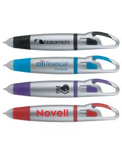 Carabiner Clip Ballpoint Pen w/ Matte Silver Finish