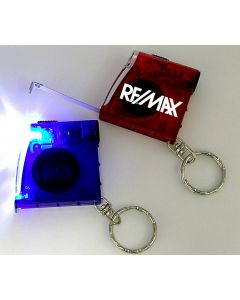 Tape Measure with LED Flashlight and Keychain