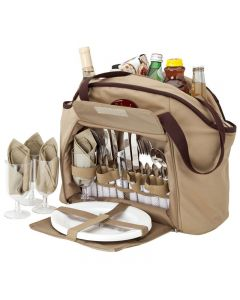 4 Person Picnic Carry Set w/ Cooler Tote